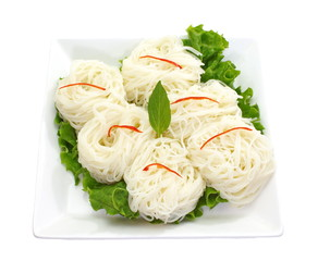 asian food rice vermicelli with vegetables on white background