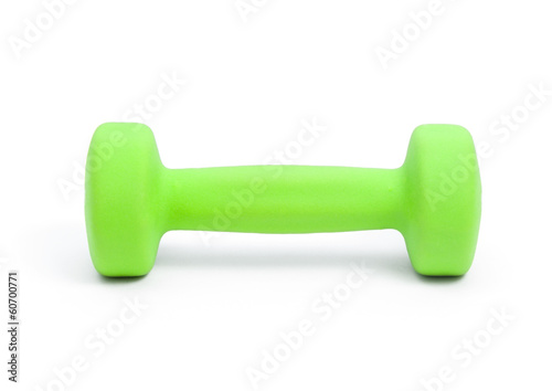one green dumbbell