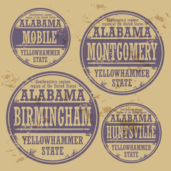 Grunge rubber stamp set with names of Alabama cities