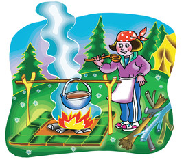 Girl cooking on campfire