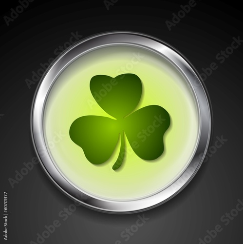 Abstract vector button with shamrock