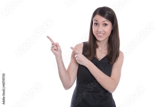Business Frau isoliert zeigt mit dem Zeigefinger