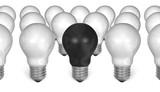 One black light bulb among many white ones poster