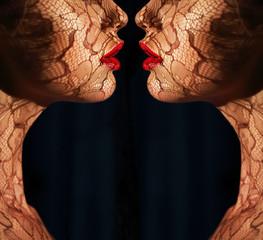 Ornamentation. Bodyart. Women with Openwork Lace