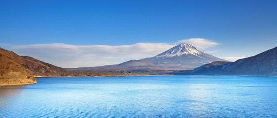 Mountain Fuji in winter  from Motosu lake