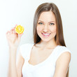 Portrait of young happy smiling woman with lemon