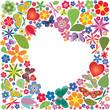 Holiday heart with flowers and butterflies