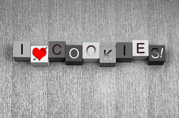 I Love Cookies. Sign for biscuits and cookie lovers everywhere!