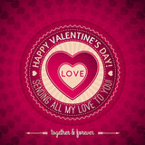 red valentines day greeting card  with  hearts,  vector