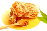 Fototapety Close up honeycombs on white background.