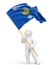 Man and flag of Wisconsin (clipping path included)