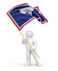 Man and flag of Wyoming (clipping path included)