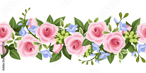 Horizontal seamless background with roses and freesia. Vector .
