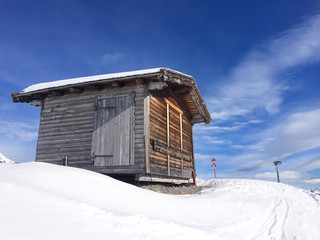 Old wooden barn in a sunny day