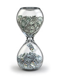Deposit or investment. Growth of the dollar. Hourglass.