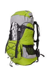 Side shot of green touristic backpack