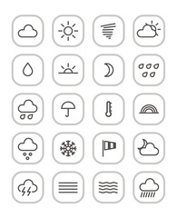 Weather forecast web icons collection isolated on white