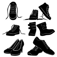 collage silhouettes black shoe