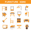 home furniture icons, orange theme set