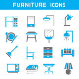 home furniture icons, blue theme color set