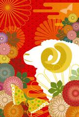 ヒツジの横顔と菊の背景