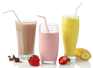 Strawberry, chocolate and banana milkshakes