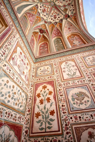 Amber Fort, Jaipur, Rajasthan, India; Fresco