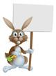 Cartoon bunny rabbit carrot and sign