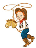 cowboy child with lasso and toy horse