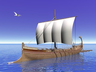 Greek boat - 3D render