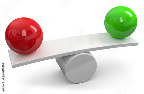 Balance red green sphere