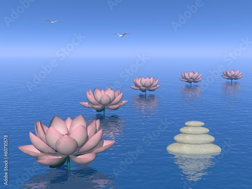 Lily flowers steps - 3D render