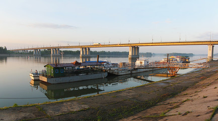 View of the bridge across the Ob River and marinas. Barnaul