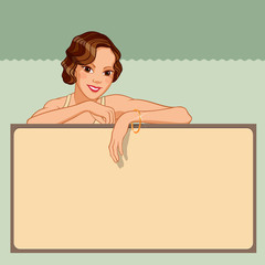 Smiling young woman leaning against a blank board