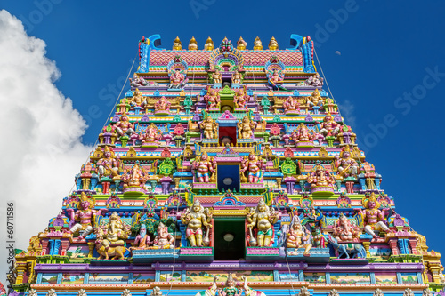 Facade of a Hindu temple in Victoria, Seychelles