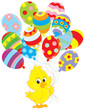 Easter Chick with colorful balloons
