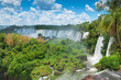 canvas print picture - Iguassu waterfalls bordering Argentina Brazil