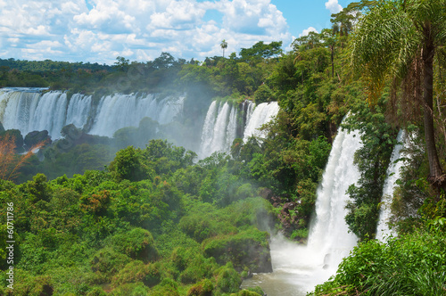 canvas print picture Iguassu waterfalls bordering Argentina Brazil