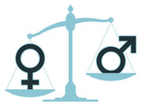 Scale with male and female icons showing imbalance poster
