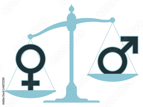 Scale with male and female icons showing imbalance