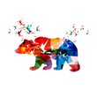 Colorful vector bear background with hummingbirds