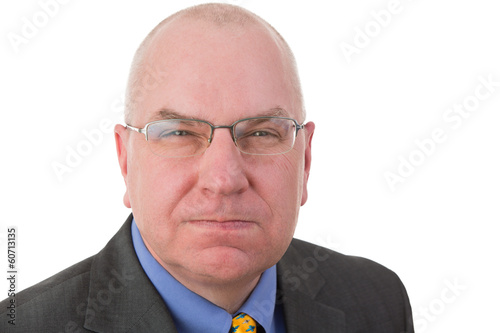 Revengeful middle-aged bald businessman