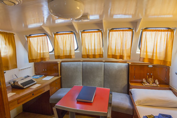 spacious cabin of the captain of a small ship