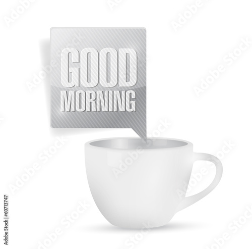 good morning coffee mug illustration design