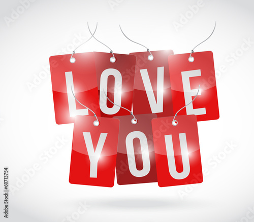 love you sign tags illustration design