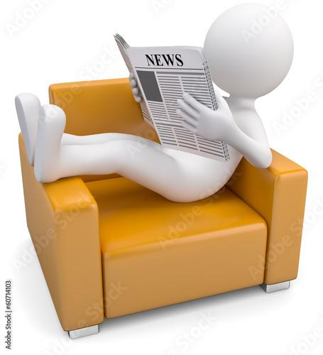 männchen entspannt beim Zeitunglesen