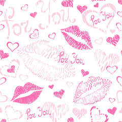 Seamless pattern with lipstick kisses and text: For You