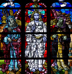 Transfiguration of Jesus in stained glass.