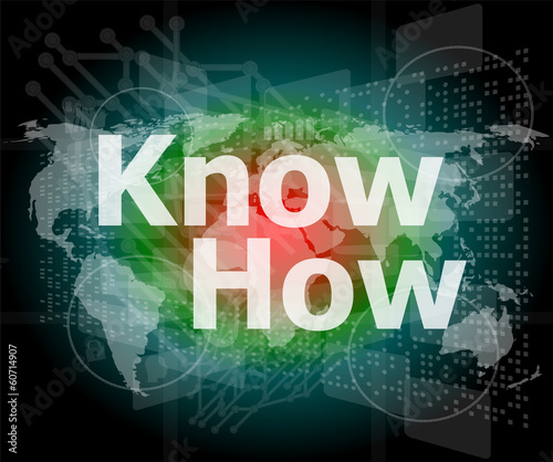 The word know how on digital screen, social concept
