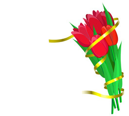 Red tulips with yellow ribbon are on white background.